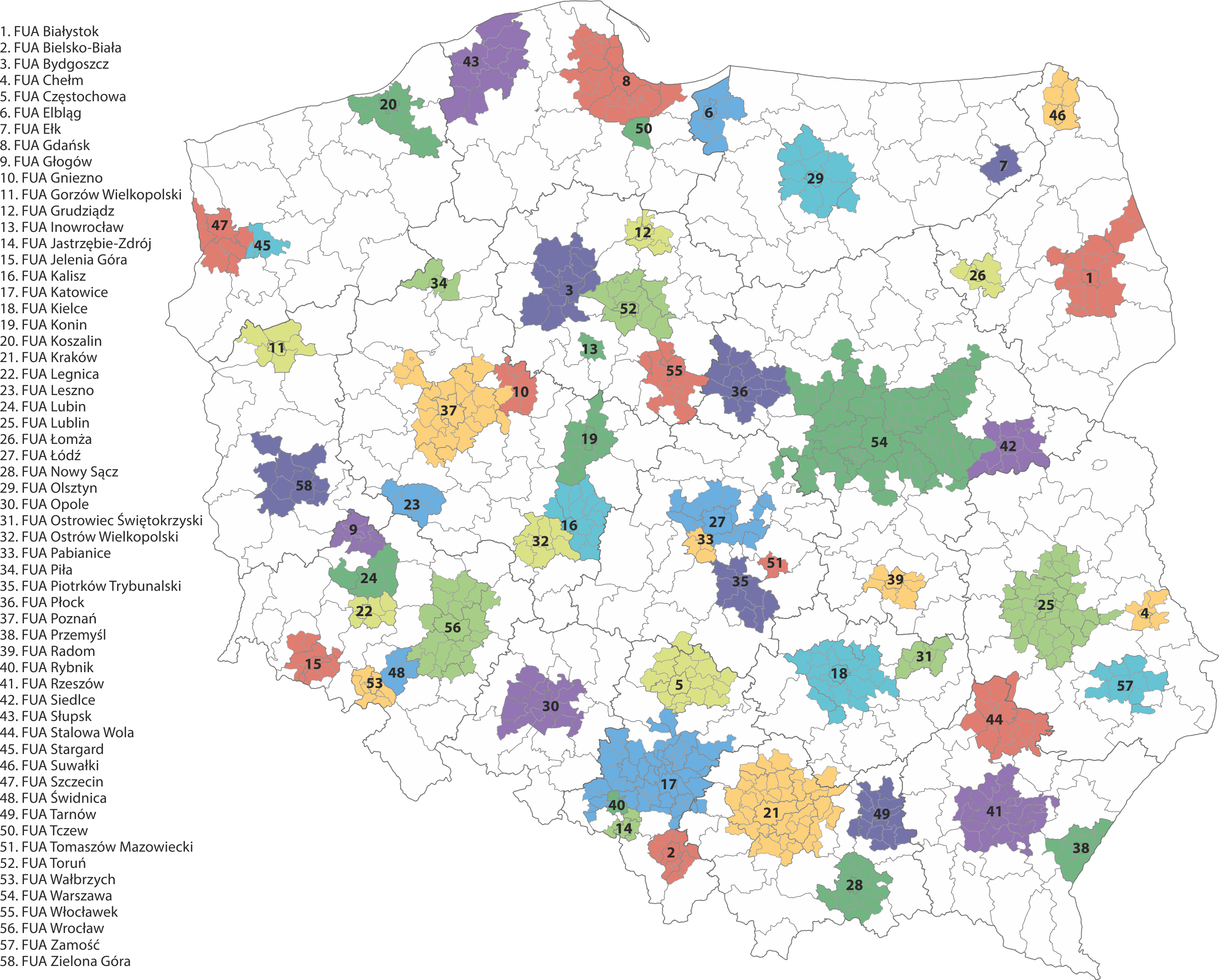 Functional urban areas (FUAs) in Poland in 2018