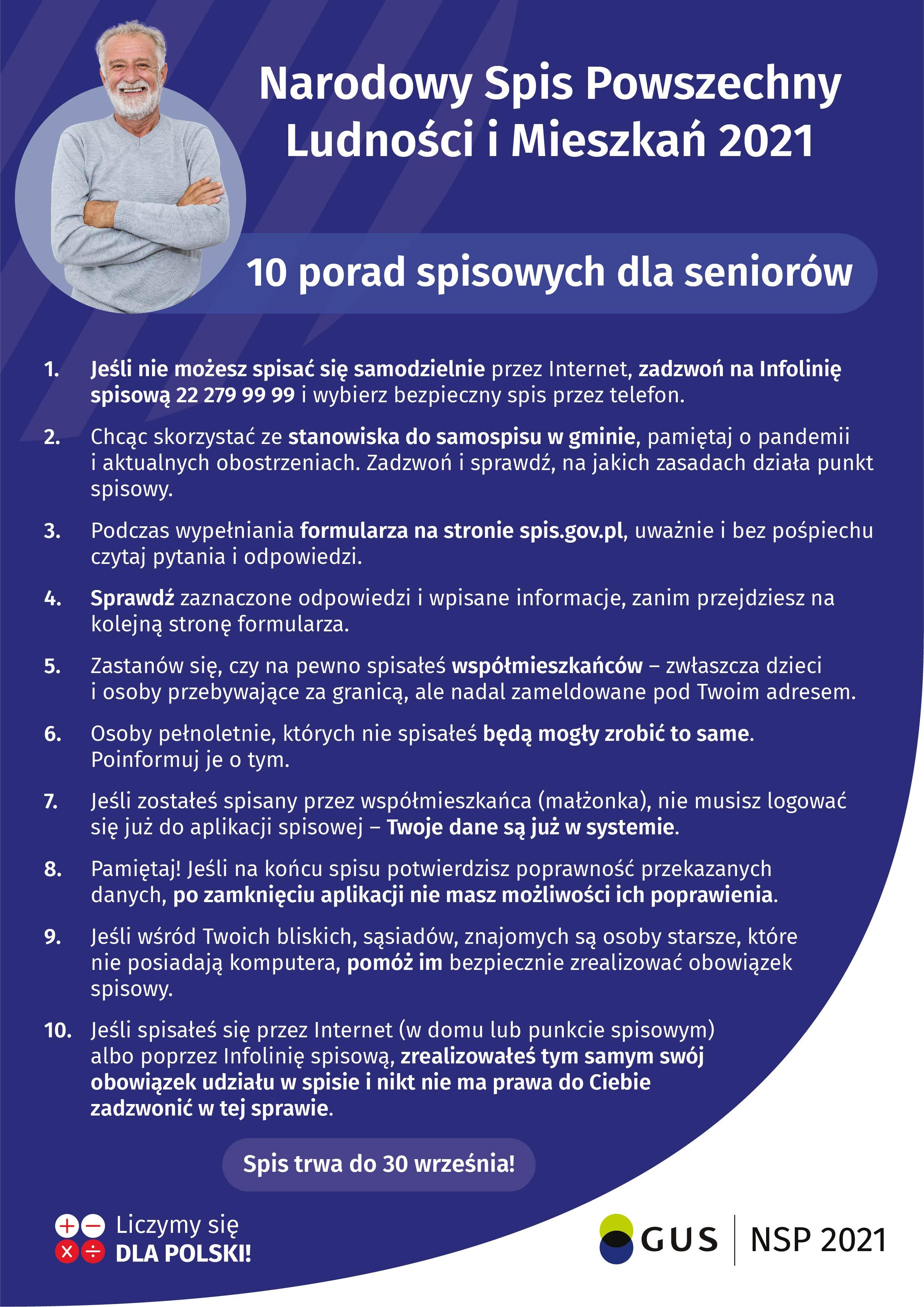 Dziesięć porad spisowych dla seniorów. Plik w formacie JPG